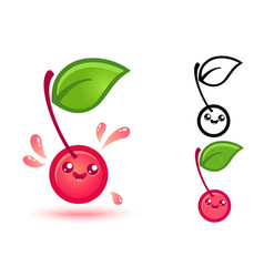 Cute cherry with juicy drops vector