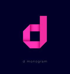 d origami pink paper monogram d logo vector image