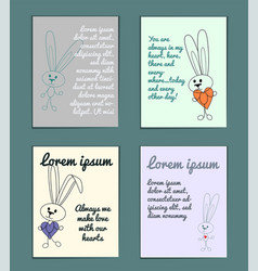 delicate set of cards with cartoon outline rabbits vector image