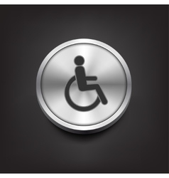 Disabled icon on silver button vector image