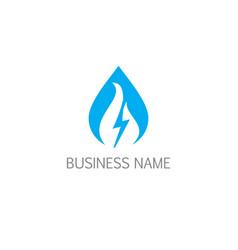 droplet bolt electric bio logo vector image