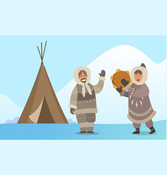 eskimo singing with tambourine in alaska vector image