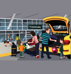 family traveler outside the airport vector image