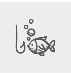 Fish with hook sketch icon vector image