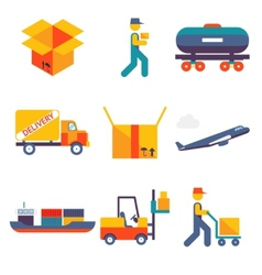 Flat delivery Icons set modern trendy isolated vector image