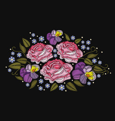 Flowers roses and pansies isolated on black vector