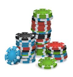 gambling chips stacks 3d realistic poker vector image