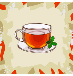 Glass cup with classic black tea with mint leaves vector