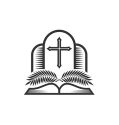 Glory christ in church palm branches vector
