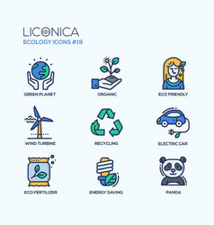 green ecology - coloured modern single line icons vector image