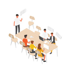 group of people or office workers sitting at table vector image