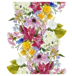 Hand drawn floral seamless border vector image