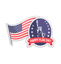 happy flag day greeting stickers statue of liberty vector image