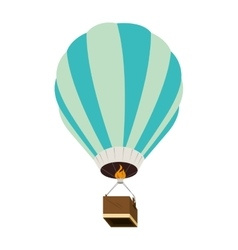 hot balloon basket fire blue icon vector image