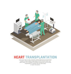 human heart transplantation composition vector image