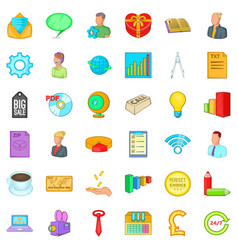 Internet marketing icons set cartoon style vector