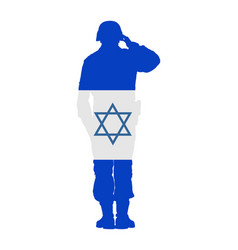 israel saluting army soldier flag israel vector image