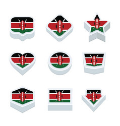 Kenya flags icons and button set nine styles vector
