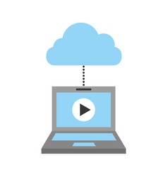 laptop and cloud computing with media player vector image