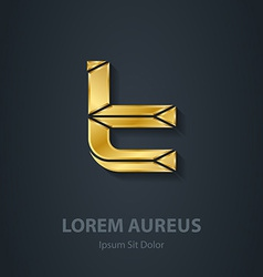 Letter T 3d elegant gold font Template for company vector image