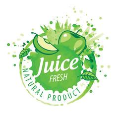 logo splashes green apple juice on white vector image