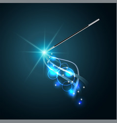 Magic wand with magical blue sparkle trail vector