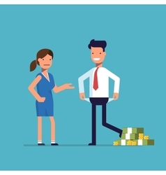 Man cheating woman Businessman with lots of money vector