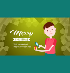 man looking at gift box present through a vector image