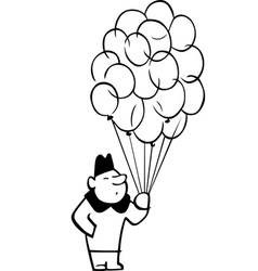 Man with a lot of balloons vector image