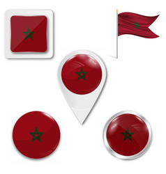 Marocco flag round glossy isolated icon vector