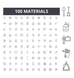 Materials line icons signs set outline vector