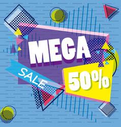 Mega sale discounts banner poster vector