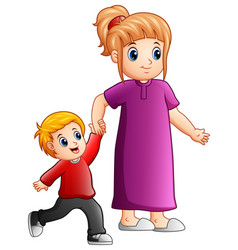 mother and son holding hands together vector image