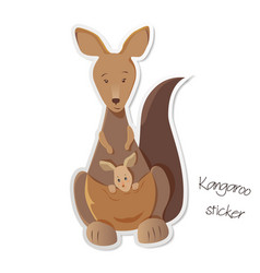 Mother kangaroo with joey in her pouch sticker vector