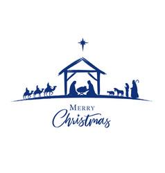 nativity scene blue silhouette jesus in manger vector image