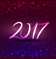 neon style 2017 text effect for new year holidays vector image