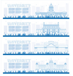 Outline set of university study banners vector