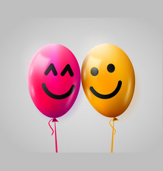 Pair of happy balloons in love valentines day vector