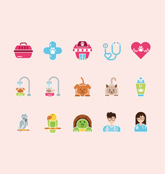 pet shop grooming vet care icons set vector image