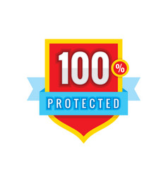 Protected safeguard shield with ribbon vector
