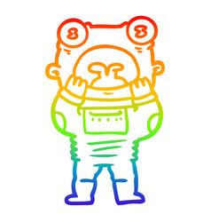 Rainbow gradient line drawing cartoon alien vector