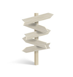 Realistic 3d wood travel signpost on white vector