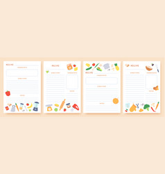 Recipe cards pages for culinary book decorated vector