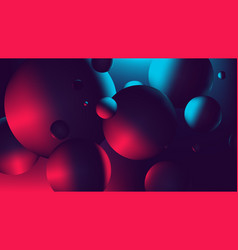 Red blue neon light with a reflection on sphere vector