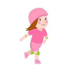 Roller beautiful girl funny sports character vector
