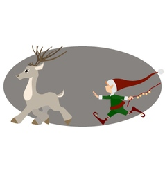 Runing deer and cute christmas elf vector