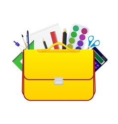 School children bag with accessories for study vector