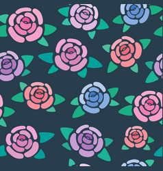seamless pattern with roses on dark background vector image