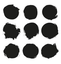 set black grunge circles vector image