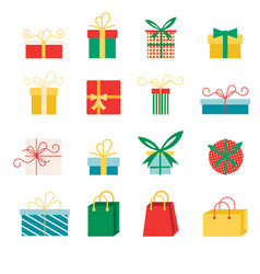 set icons in flat style for christmas vector image